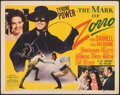 "Movie Posters:Swashbuckler, The Mark of Zorro (20th Century Fox, 1940). Very Fine-. Title Lobby Card (11"" X 14""). Swashbuckler.. ..."