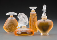 Four Lalique Clear and Frosted Glass Les Flacon Collection Perfume Bottles with Original Boxes, 1994-1997 Marks... (Tota...