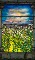 Glass, Tiffany Studios Leaded Glass Lily Window, circa 1900. 54-1/2 x 32-1/4 inches (138....