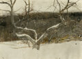 Paintings, Andrew Newell Wyeth (American, 1917-2009). Hill Orchard, 1980. Watercolor on paper. 19 x 26-3/8 inch...