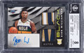 Basketball Cards:Singles (1980-Now), 2019 Panini Black Rookie Memorabilia Zion Williamson Holo Gold Autograph #RM-ZW BGS NM-MT 8, Auto 9 - Serial Numbered 1/5....