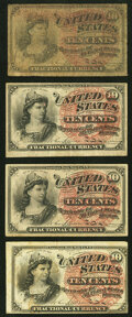 Fractional Currency:Fourth Issue, Fr. 1257 10¢ Fourth Issue Four Examples Very Good or Better.. ... (Total: 4 notes)