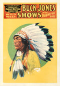 """Movie Posters:Western, Buck Jones Wild West Shows and Round-Up Days (1929). Fine+on Linen. Poster (20"""" X 28.25"""").. ..."""