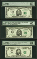 Small Size:Federal Reserve Notes, $5 1969B Federal Reserve Notes PMG Graded.. Fr. 1971-B Gem Uncirculated 66 EPQ;. Fr. 1971-D Gem Uncirculated 65 EPQ;... (Total: 6 notes)