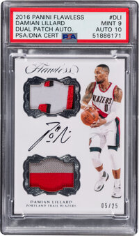 2016 Panini Flawless Damian Lillard Dual Patch Autograph #DPA-DLI PSA Mint 9, Auto 10 - Serial Numbered 5/25