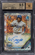 Baseball Cards:Singles (1970-Now), 2019 Bowman Chrome Prospects Autograph Wander Franco Speckle Refractor #CPA-WF BGS Gem Mint 9.5, Auto 10 - Serial Numbered 28...
