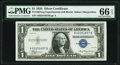 Small Size:Silver Certificates, Fr. 1607 $1 1935 Silver Certificate. A-B Experimental. PMG Gem Uncirculated 66 EPQ.. ...