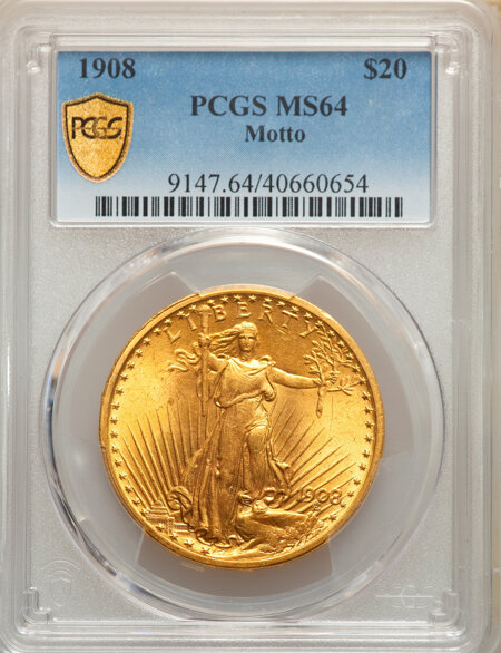 1908 $20 MOTTO PCGS Secure 64 PCGS