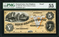 New Brighton, PA- Bank of Beaver County $5 18__ G2a Proof PMG About Uncirculated 55, POCs