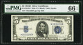 Small Size:Silver Certificates, Fr. 1654* $5 1934D Wide I Silver Certificate. PMG Gem Uncirculated 66 EPQ.. ...