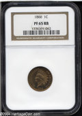 Proof Indian Cents: , 1866 1C PR65 Red and Brown NGC. Fully struck with rich ...