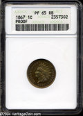 Proof Indian Cents: , 1867 1C PR65 Red and Brown ANACS. Gold, tan, yellow, and ...
