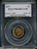 Proof Indian Cents: , 1875 1C PR64 Red Cameo PCGS. A radiant orange-red ...