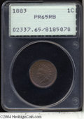 Proof Indian Cents: , 1883 1C PR65 Red and Brown PCGS. Rose-violet and electric-...
