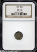Three Cent Silver: , 1855 3CS MS64 NGC. Breen-2920. Doubled Date although not ...