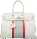 Luxury Accessories:Bags, Hermès Limited Edition 35cm White & Gris Perle Clemence Leather and Sanguine Lizard Club Birkin Bag with Palladium Har...