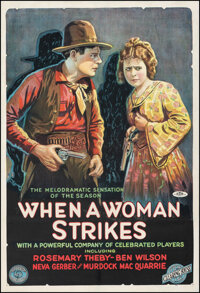 """When a Woman Strikes (Film Clearing House, 1919). Fine+ on Linen. One Sheet (27.75"""" X 40.5""""). Western"""
