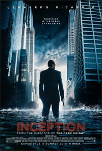 "Inception (Warner Bros., 2010). Rolled, Very Fine+. One Sheet (27"" X 40"") DS Advance. Science Fiction"