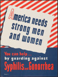 "Movie Posters:War, World War II Propaganda (VDgraphic, 1940s). Folded, Very Fine. Welfare Poster (15"" X 20"") ""America Needs Strong Men and Wome..."