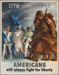 """Movie Posters:War, World War II Propaganda (U.S. Government Printing Office, 1943). Folded, Very Fine. OWI Poster No. 26 (22"""" X 28"""") """"Americans..."""