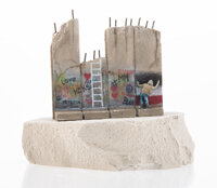 After Banksy Defeated Souvenir Wall Section Small, 2017 Painted cast resin with concrete 4-1/2 x