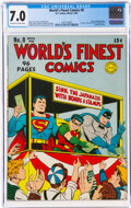 Golden Age (1938-1955):Superhero, World's Finest Comics #8 (DC, 1942) CGC FN/VF 7.0 Off-white to white pages....