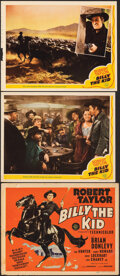 """Movie Posters:Western, Billy the Kid (MGM, 1941/R-1955). Overall: Very Fine-. Title Lobby Card, Lobby Cards (2) (11"""" X 14""""), & Half Sheet (22"""" X 28... (Total: 4 Items)"""