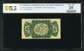 Inverted Back Surcharge Fr. 1294 25¢ Third Issue PCGS Banknote Very Fine 25