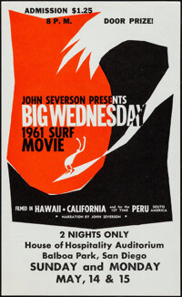 "Big Wednesday (John Severson, 1961). Very Fine/Near Mint. College Poster (8.5"" X 14"") John Severson Artwork..."
