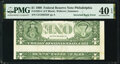 Inverted Back Printing Error Fr. 1924-C $1 1999 Federal Reserve Note. PMG Extremely Fine 40 EPQ