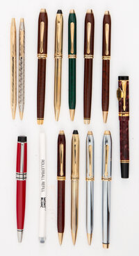 A Group of Twelve American Writing Instruments in Original Cases, 20th century Marks: (various) 6 inches (15.2