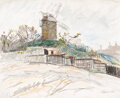 Works on Paper, Ludovico Rodolphe Pissarro (French, 1878-1954). View of Montmartre, circa 1927. Watercolor and pastel on paper. 11 x 13-...