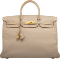 "Luxury Accessories:Bags, Hermès 40cm Parchment Togo Leather Birkin Bag with Gold Hardware. G Square, 2003. Condition: 4. 16"" Width x 11"" He..."