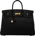 """Luxury Accessories:Bags, Hermès 40cm Black Togo Leather Birkin Bag with Rose Gold Hardware. B Square, 1998. Condition: 4. 16"""" Width x 12"""" H..."""