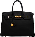 """Luxury Accessories:Bags, Hermès 35cm Black Togo Leather Birkin Bag with Gold Hardware. O Square, 2011. Condition: 4. 14"""" Width x 10"""" Height..."""