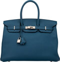 """Luxury Accessories:Bags, Hermès 35cm Cobalt Clemence Leather Birkin Bag with Palladium Hardware. O Square, 2011. Condition: 3. 14"""" Width x ..."""
