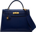 Luxury Accessories:Bags, Hermès Vintage 32cm Blue Sapphir Calf Box Sellier Kelly Bag with Gold Hardware. S Circle, 1989 . Condition: 4. 12....