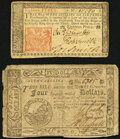Colonial Notes:New Jersey, New Jersey March 25, 1776 18d Very Fine;. South Carolina $4 December 23, 1776 Fine.. ... (Total: 2 notes)
