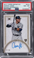 Baseball Cards:Singles (1970-Now), 2017 Topps Definitive Aaron Judge Rookie Autograph #DCRA-AJU PSA NM-MT 8 - Serial Numbered 27/50....