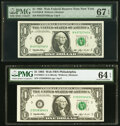 Small Size:Federal Reserve Notes, Fr. 1920-B; C $1 1993 Web Federal Reserve Notes. PMG Graded Superb Gem Unc 67 EPQ; Choice Uncirculated 64 EPQ.. ... (Total: 2 notes)