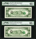 Error Notes:Third Printing on Reverse, Third Printing on Back Error Fr. 2024-L $10 1977A Federal Reserve Notes. Two Consecutive Examples. PMG Gem Uncirculated 65 EPQ... (Total: 2 notes)