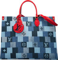 """Luxury Accessories:Bags, Louis Vuitton Denim On The Go GM Tote Bag. Condition: 1. 16"""" Width x 12"""" Height x 7"""" Depth. ..."""