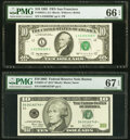 Small Size:Federal Reserve Notes, Fr. 2032-L $10 1995 Federal Reserve Note. PMG Gem Uncirculated 66 EPQ;. Fr. 2037-A* $10 2003 Federal Reserve Note. PMG Sup... (Total: 2 notes)