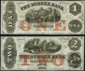 Newton, NJ- Sussex Bank $1; $2 18__ Remainders G10a; G20a Crisp Uncirculated. ... (Total: 2 notes)