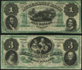 Trenton, NJ- Merchants Bank $1; $3 Nov. 20, 1861 Remainders G2a; G6a Extremely Fine-About Uncirculated; Choice Cri