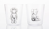 KAWS (b. 1974) Seeing/Watching, 2018 Drinking glasses 3-1/4 x 3-1/8 x 3-1/8 inches (8.3 x 7.9 x 7.9 cm) (glass, each)