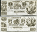 Obsoletes By State:Michigan, St. Joseph, MI- Farmers & Merchants Bank of St. Joseph $1; $2 18__ Remainders G2; G4 Very Fine, Crisp Uncirculated.. ... (Total: 2 notes)