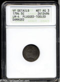 Early Half Dimes: , 1794 H10C --Plugged, Tooled, Damaged--ANACS. VF Details, Net ...