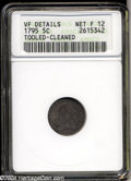 Early Half Dimes: , 1795 H10C --Tooled, Cleaned--ANACS. VF Details, Net Fine 12.