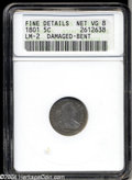 Early Half Dimes: , 1801 H10C --Damaged, Bent--ANACS. Fine Details, Net VG8. V-...